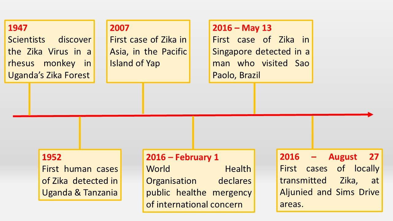Timeline of spread of Zika virus. Information retrieved from http://www.straitstimes.com/world/timeline-zikas-origin-and-global-spread