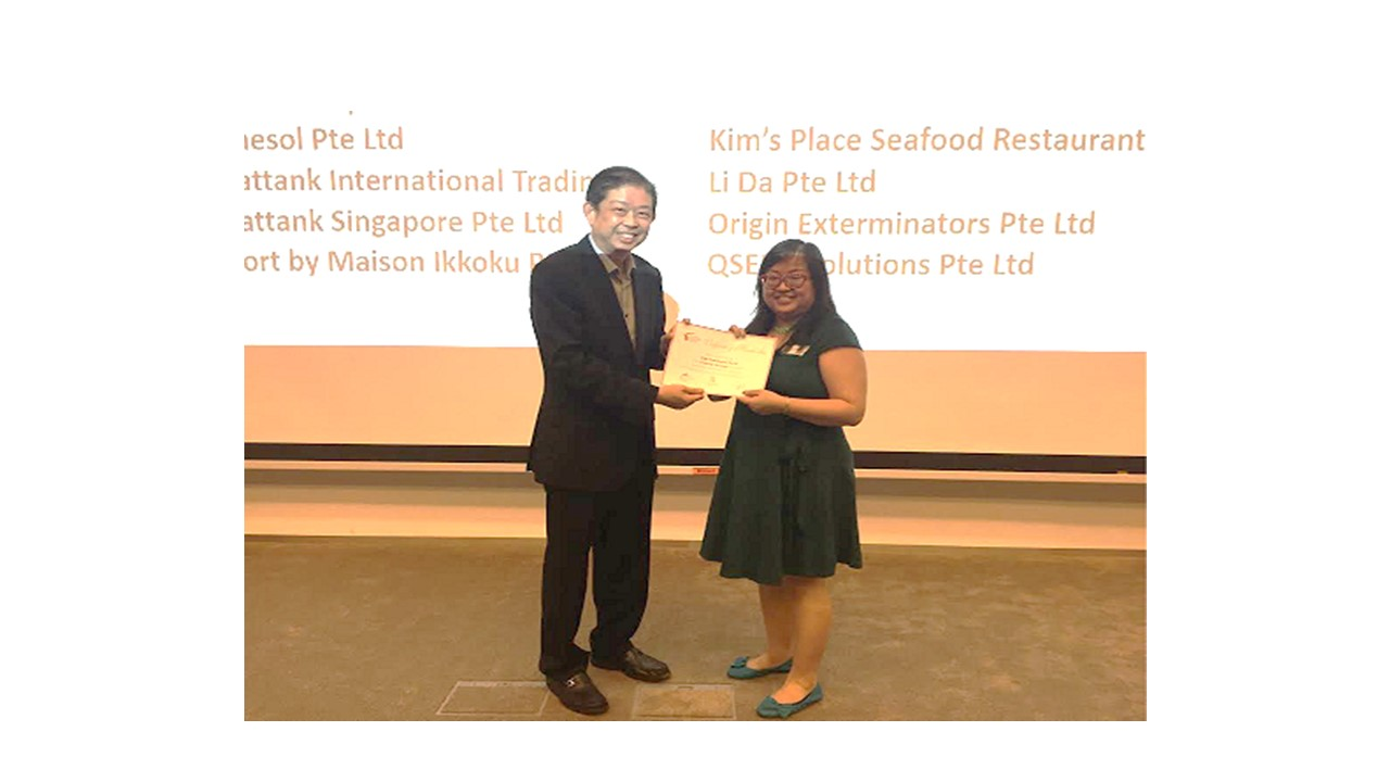Ms Audrey Ong, our Business Development Manager, receiving the certificate of membership at the PleasuresNetworking Event on 26 July 2016.